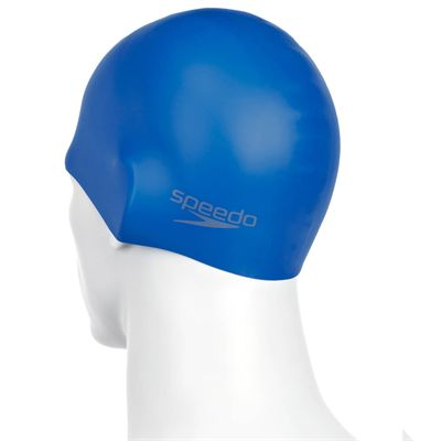 Speedo Plain Moulded Silicone Cap  - Blue - Back
