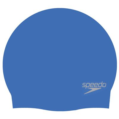 Speedo Plain Moulded Silicone Cap  - Blue - Cap