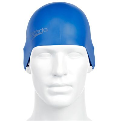 Speedo Plain Moulded Silicone Cap  - Blue - Front