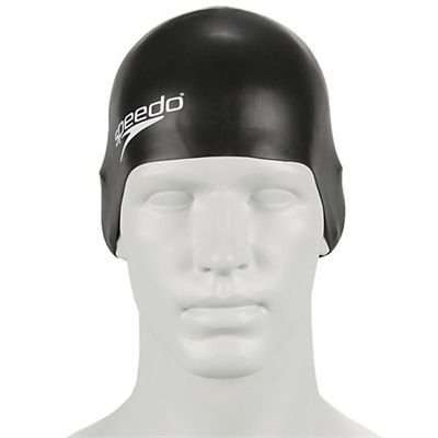 Speedo Plain Moulded Silicone Junior Cap-black-