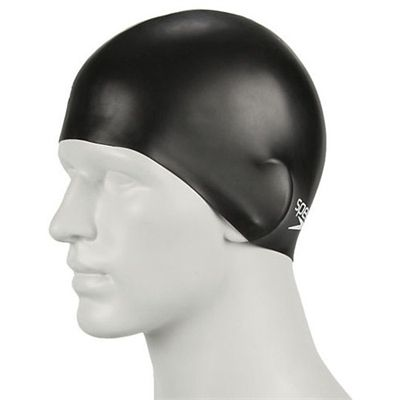 Speedo Plain Moulded Silicone Junior Cap-black-a