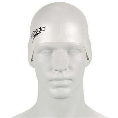 Speedo Plain Moulded Silicone Junior Cap white-b