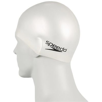 Speedo Plain Moulded Silicone Junior Cap white-c