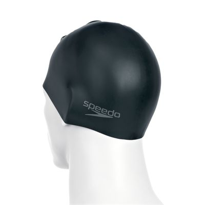 Speedo Plain Moulded Silicone Cap -Black Back View