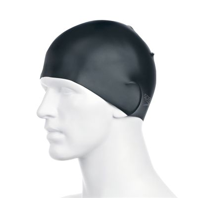 Speedo Plain Moulded Silicone Cap -Black Side View