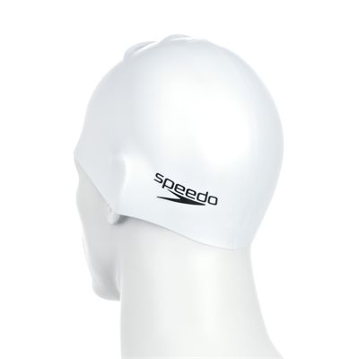 Speedo Plain Moulded Silicone Cap -White Back View