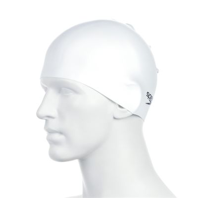 Speedo Plain Moulded Silicone Cap -White Side View