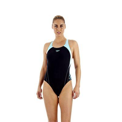 Speedo PowerDive Placement Powerback Ladies Swimsuit Navy Blue
