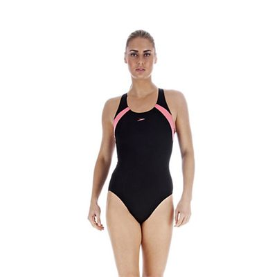 Speedo PowerForm Kickback Ladies Swimsuit Black Pink