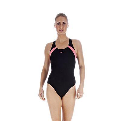 Speedo PowerForm Kickback Ladies Swimsuit Black Pink