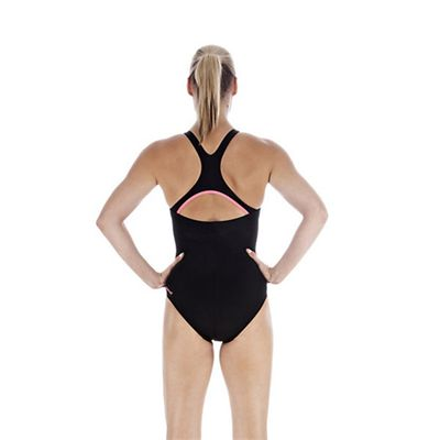Speedo PowerForm Kickback Ladies Swimsuit Black Pink Back