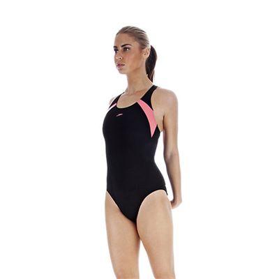 Speedo PowerForm Kickback Ladies Swimsuit Black Pink Side