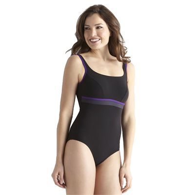 Speedo Premiere Contour 1 Piece Swimsuit - Black/Grey