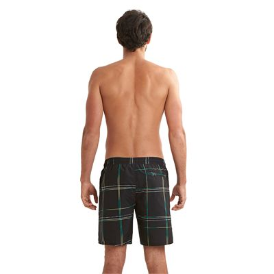 Speedo Printed Check Leisure 18 Inch Watershorts Black Green Back View