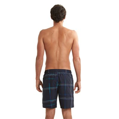 Speedo Printed Check Leisure 18 Inch Watershorts Navy Blue Back View