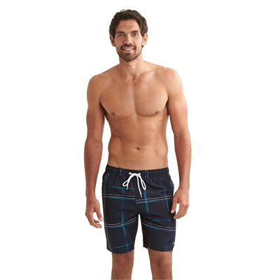 Speedo Printed Check Leisure 18 Inch Watershorts Navy Blue Front View