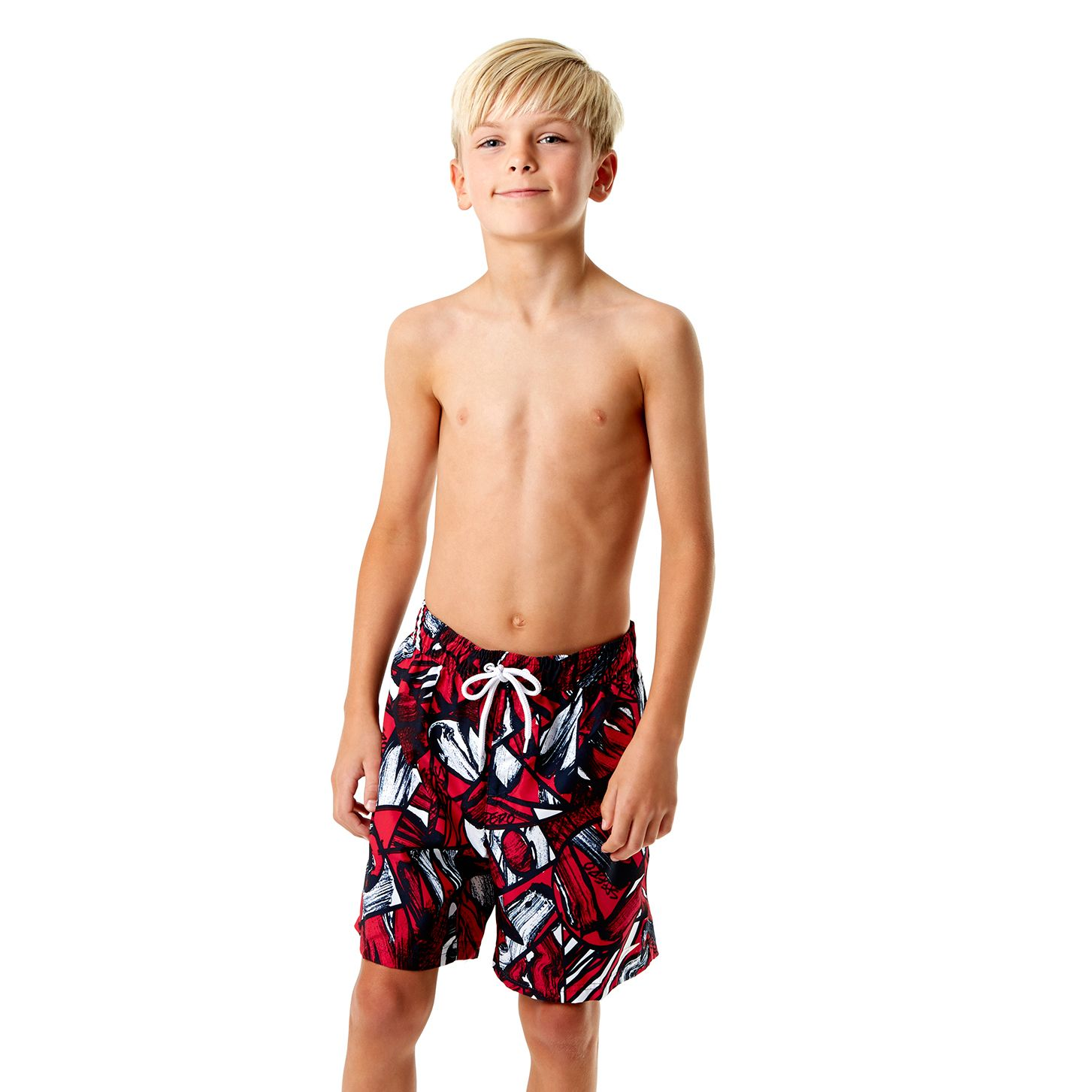 Speedo Printed Leisure 15 Inch Boys Watershorts - Black/Red, M - Everything Sports.