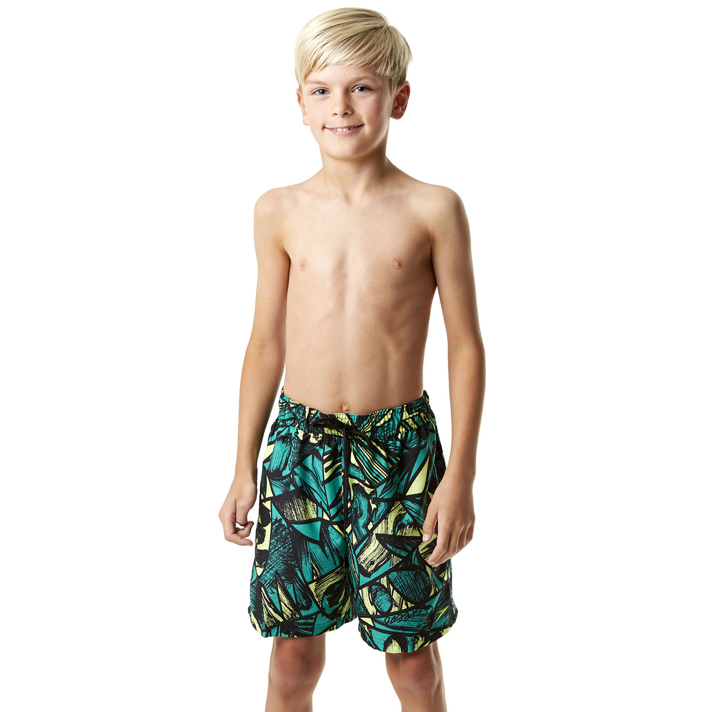 Speedo Printed Leisure 15 Inch Boys Watershorts - Black/Green, L