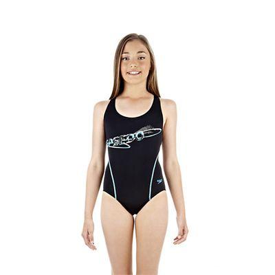 Speedo PulseAction Placement Splashback Girls Swimsuit Navy Blue White