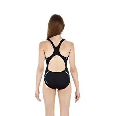 Speedo PulseAction Placement Splashback Girls Swimsuit Navy Blue White Back