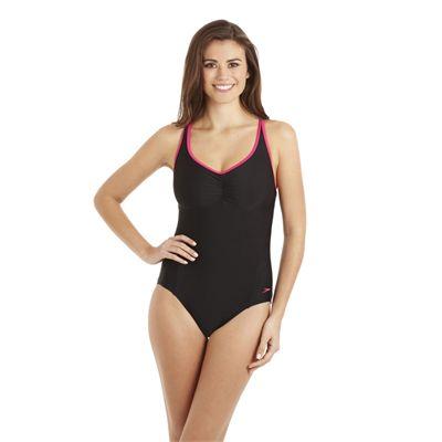 Speedo Pureshape 1 Piece Swimsuit - Black/Pink