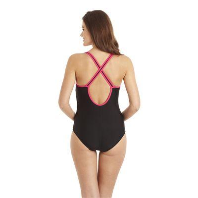 Speedo Pureshape 1 Piece Swimsuit - Black/Pink - Back View