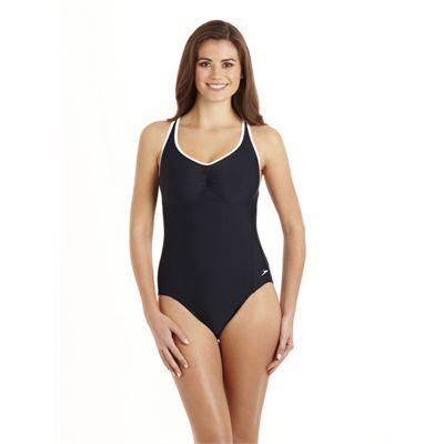 Speedo Pureshape 1 Piece Swimsuit - Navy/White