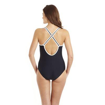 Speedo Pureshape 1 Piece Swimsuit - Navy/White - Back View