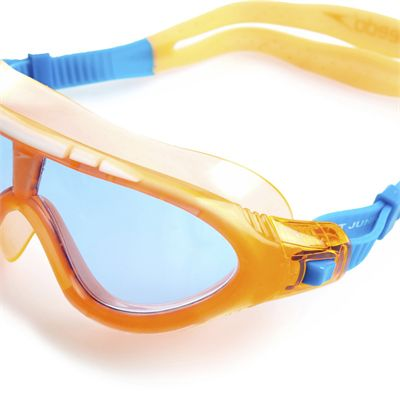 Speedo Rift Junior Swimming Goggles - Orange and Blue Close View