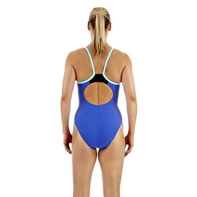 Speedo PowerFlash Thin Strap Muscleback Ladies Swimsuit - Blue - Back View