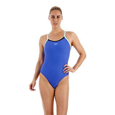 Speedo PowerFlash Thin Strap Muscleback Ladies Swimsuit - Blue