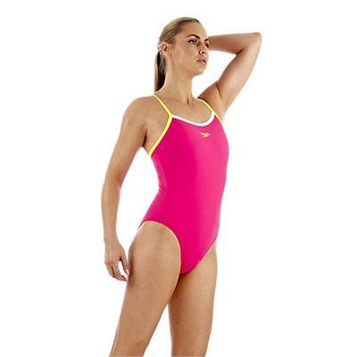 Speedo PowerFlash Thin Strap Muscleback Ladies Swimsuit - Raspberry