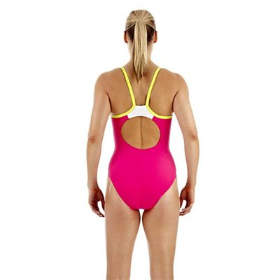 Speedo PowerFlash Thin Strap Muscleback Ladies Swimsuit - Raspberry - Back View