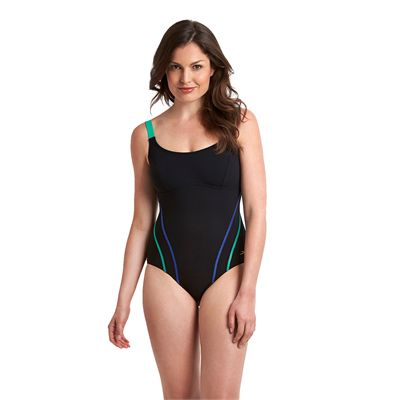 Speedo Sculpture Clearglow Ladies Swimsuit-Black and Green-Front View