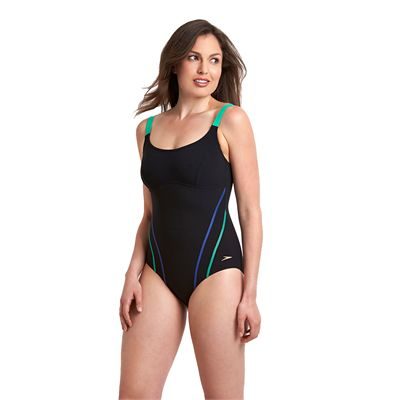 Speedo Sculpture Clearglow Ladies Swimsuit-Black and Green-Side View