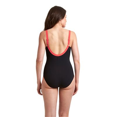 Speedo Sculpture Clearglow Ladies Swimsuit-Black and Pink-Back View