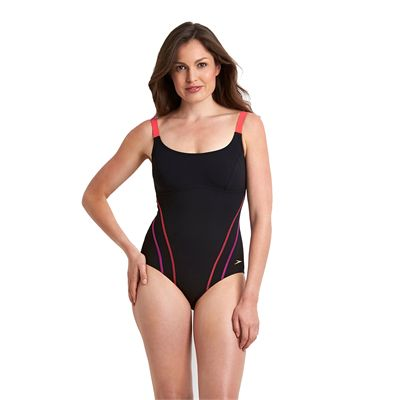 Speedo Sculpture Clearglow Ladies Swimsuit-Black and Pink-Front View