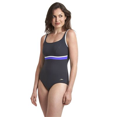 Speedo Sculpture Contour Ladies Swimsuit - Black/Purple - Side