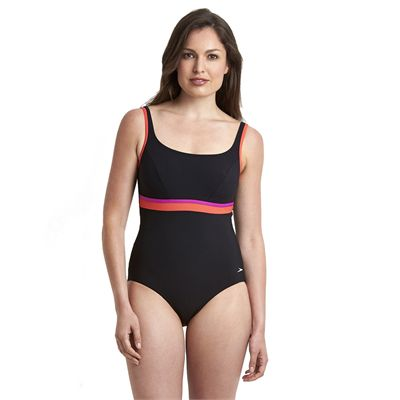 Speedo Sculpture Contour Ladies Swimsuit - Black/Ping - Front