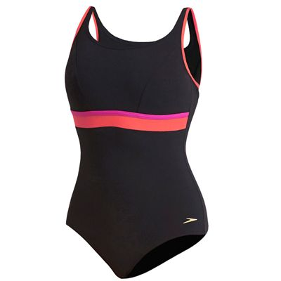 Speedo Sculpture Contour Ladies Swimsuit - Black/Pink