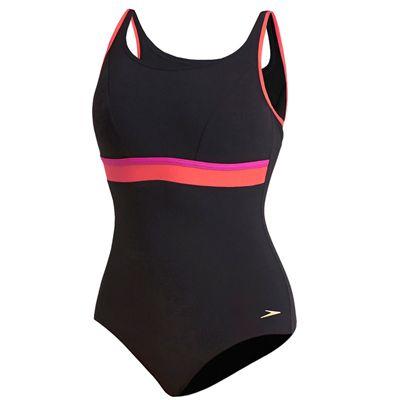 Speedo Sculpture Contour Ladies Swimsuit - Black/Pink