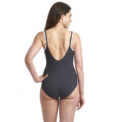 Speedo Sculpture Contour Ladies Swimsuit - Black/Purple - Back