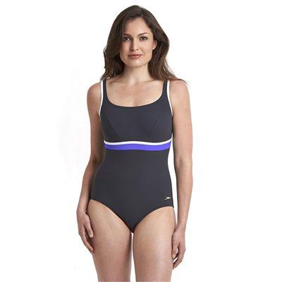 Speedo Sculpture Contour Ladies Swimsuit - Black/Purple - Front