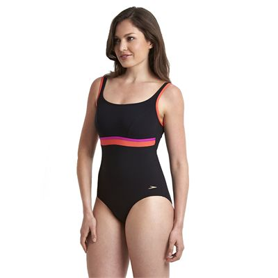 Speedo Sculpture Contour Ladies Swimsuit - Black/Pink - Side