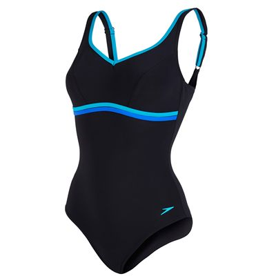 Speedo Sculpture Contourluxe 1 Piece Ladies Swimsuit-Black-Blue
