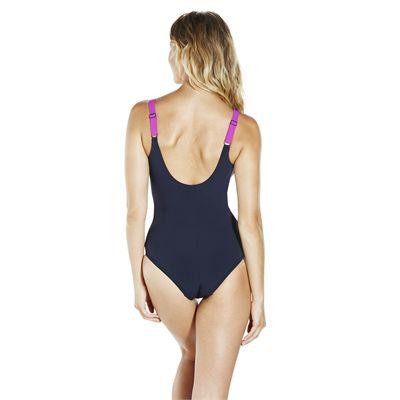 Speedo Sculpture LunaLustre 1 Piece Ladies Swimsuit SS18 - NavyPink - Back