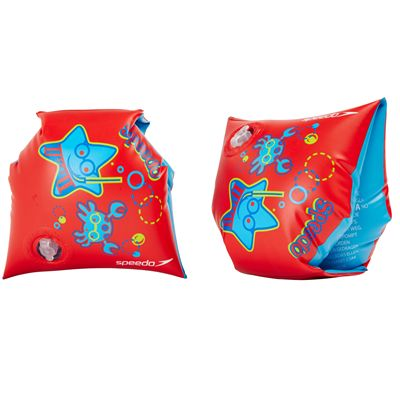 Speedo Sea Squad Arm Bands-Blue-Red-Image