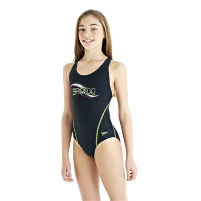 Speedo Spiralize Splashback Girls Swimsuit - Navy/Green