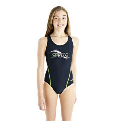 Speedo Spiralize Splashback Girls Swimsuit - Navy/Green - Front View