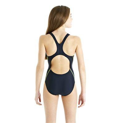 Speedo Spiralize Splashback Girls Swimsuit - Navy/Green - Back View